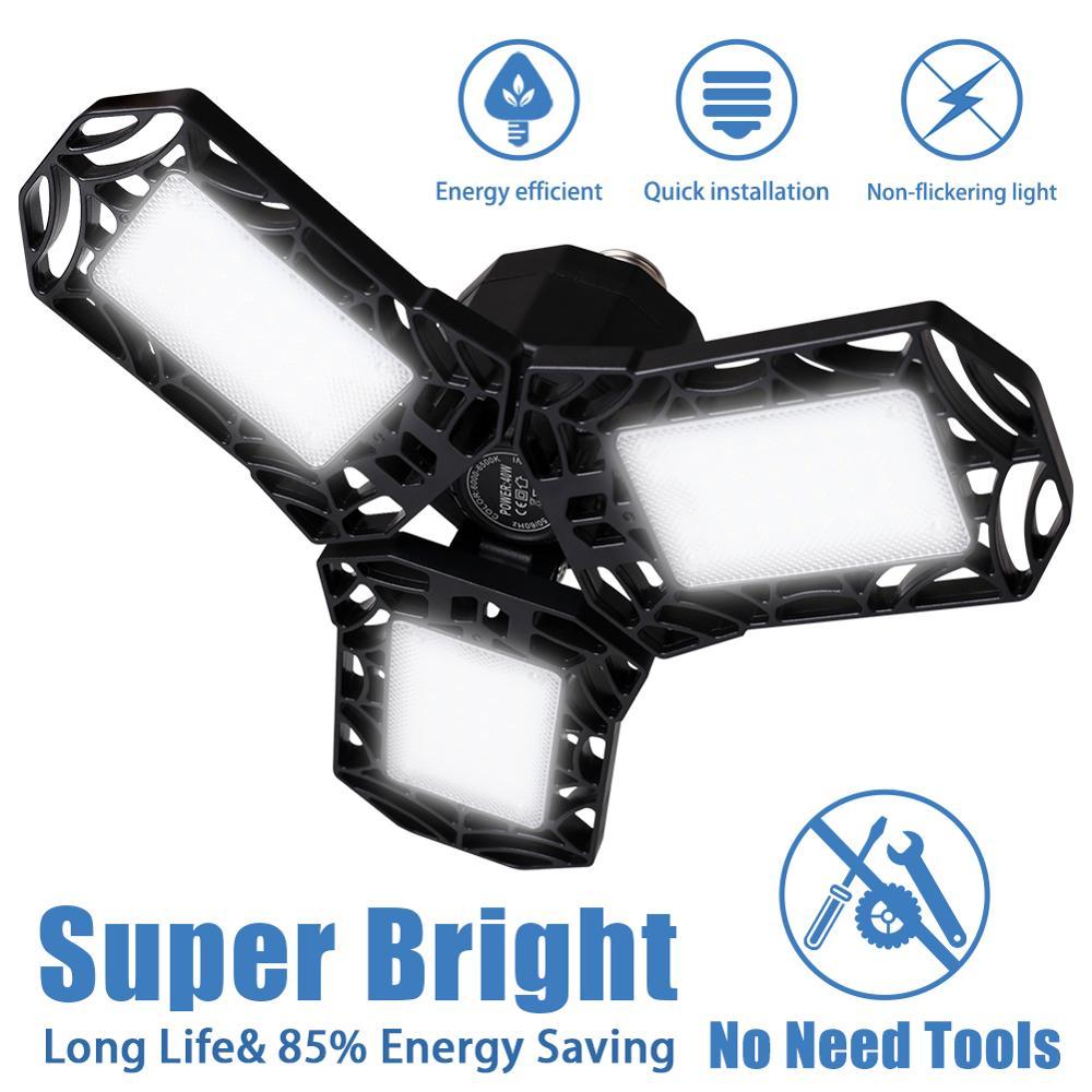 4000 Lumens Outdoor Lamp High Power 40W Super Bright Garage Working Light 3 LED Adjustable Lamp Holders Waterproof Folding Lamp