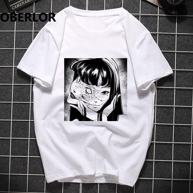 Men Clothes 2020 Junji Ito manga Printing Man's T-shirt Harajuku Short Sleeve Streetwear Aesthetic Clothes Camisetas Hombre(China)