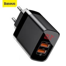 "Baseus 18W USB מטען תשלום מהיר 3.0 נייד טלפון מטען דיגיטלי תצוגת נסיעות מטען קיר האיחוד האירופי בארה""ב מתאם עבור iP ForXiaomi"