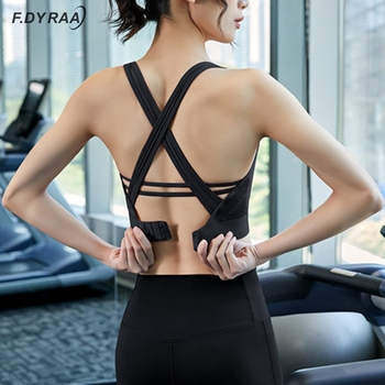 F.DYRAA 2020 New Sport Bra Top High Impact Strappy Workout Bra Sexy Cut Out Yoga Top Activewear Padded Sports Wear For Women Gym high impact contrast color cut out sports bra in orange
