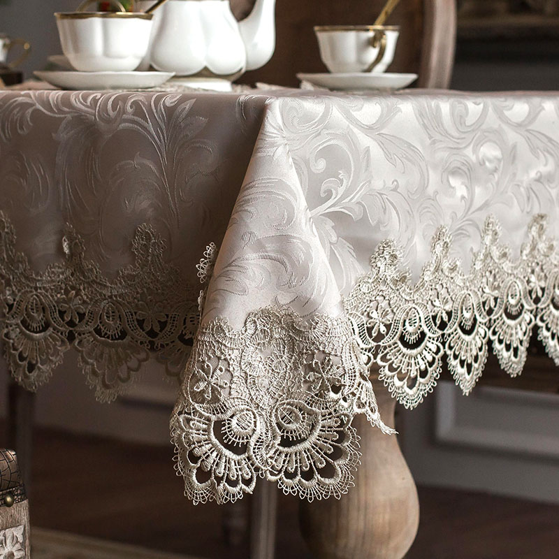 Tablecloth Little Gray Europe Luxury Embroidered Table Dining  Table Cover Cloth Lace Coffee Table Flag Cushion Cover Set HM322A