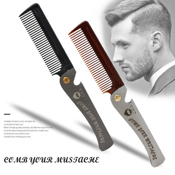 1 pcs Men Folding Pocket Comb Knife Shape PP Teeth Detangling Hair Beard Comb Metal Handle Foldable Combing Facial Mustache Comb