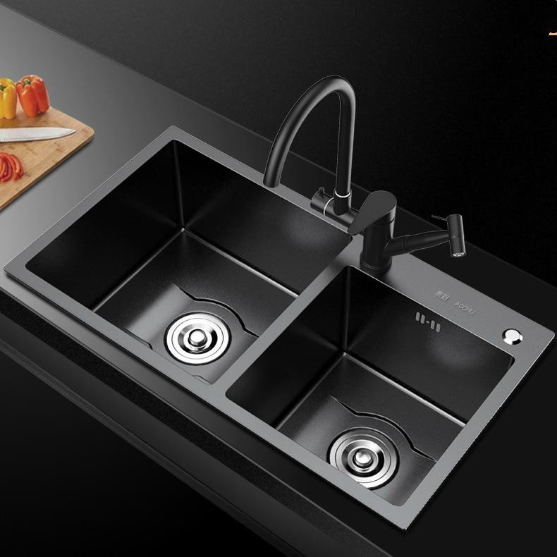 Kitchen Sinks 75*40cm Stainless Steel Black Nano Kitchen Sink Double Bowl Soap Dispenser Drain Basket Without Faucet