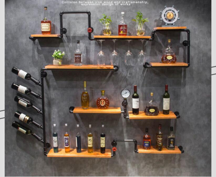 Custom Vintage Industrial Style Bar Wall Decoration Red Wine Shelf Iron Bar Shelf