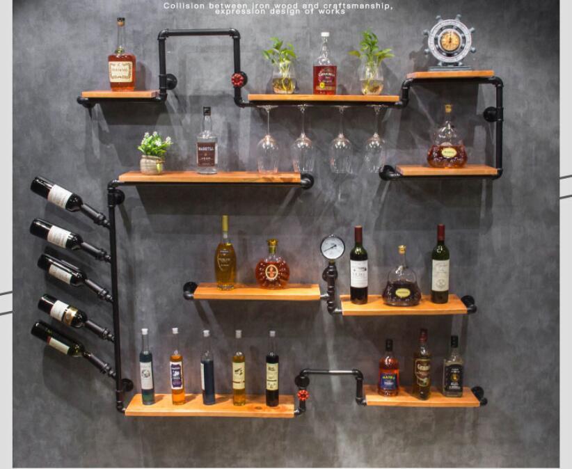 Custom Vintage Industrial Style Bar Wall Decoration Red Wine Shelf Iron Bar Shelf