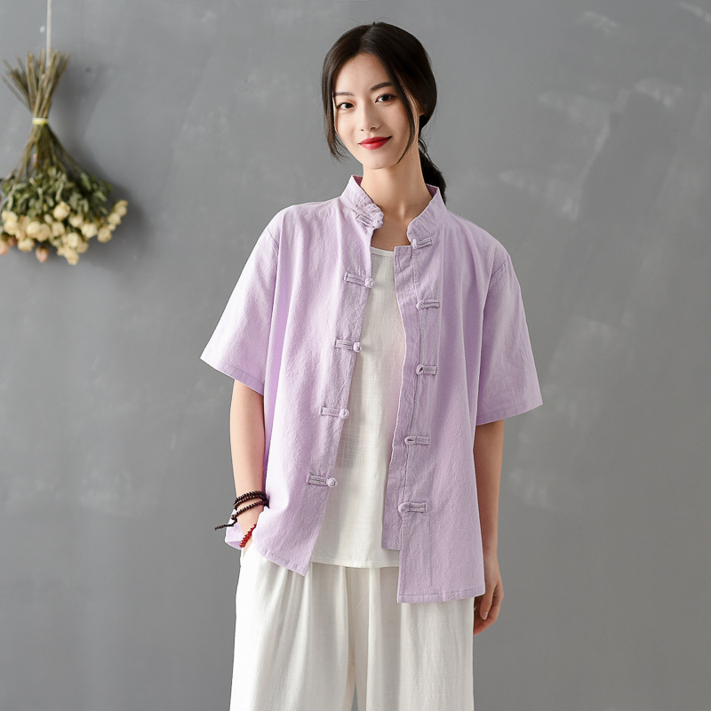 Women Chinese Style Shirts Cotton Linen Blouses Solid Color 2020 New Summer Stand Short Sleeve Button Vintage Casual Shirts