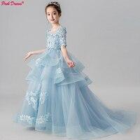 POSH DREAM Light Blue Children Flower Wedding Party Dresses Long Train Tail Girl Princess Flower Children Evening Prom Dresses
