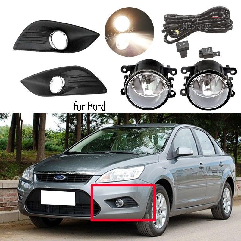 Светодиодный фонарь светильник s для Ford Focus sedan 2009-2011 туман светильник головной светильник Чехлы Противотуманные фары рамка галогенный раст...