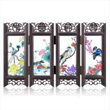 ShaoFu Folding Screens Art Crafts Desktop Decoration Chinese Vintage Glass Antique Mini Orrnaments Room Divider