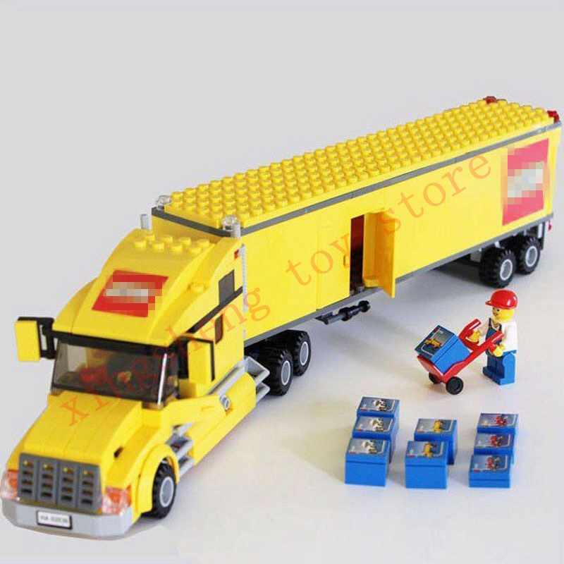 02036 298pc City Airport Yellow Truck Pickup Caravan Building Blocks City Truck 3221 Set Children Gift Compatible With Legoingly