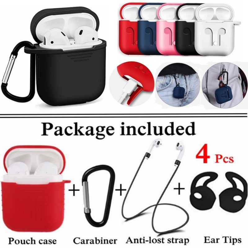 4 In 1 Earphone Silicone Soft Case Anti-lost Wire Eartips Headset for Apple Airpods 2 1 Air Pods Bluetooth Wireless Headphones