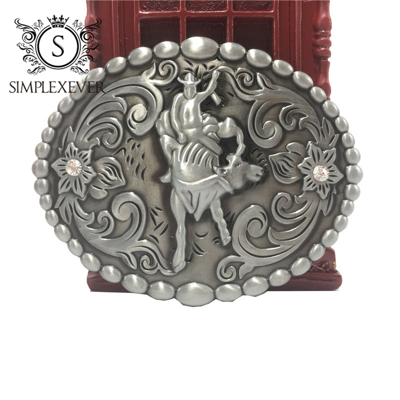 Western Cowboy/girls Belt Buckle Rodeo Novelty Bead Decor For Men's Belt Accessory Silver Belt Buckle Drop Shipping