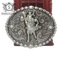 Western Cowboy/girls Belt Buckle Rodeo Novelty Bead Decor for Men's Accessory Silver Drop Shipping