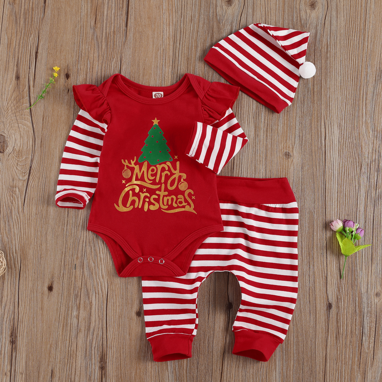 2020 New Autumn Christmas Long Sleeve Romper Set, Letters and Plaid Christmas Tree Print Plaid Printed Pants and Christmas Hat