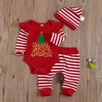 2020 New Autumn Christmas Long Sleeve Romper Set, Letters and Plaid Tree Print Printed Pants Hat - discount item  30% OFF Children's Clothing