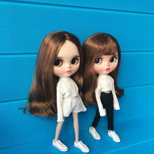 2pcs / set blyth doll clothes accessories fashion white t-shirt + pants for 1/6 blyth doll handmade clothes