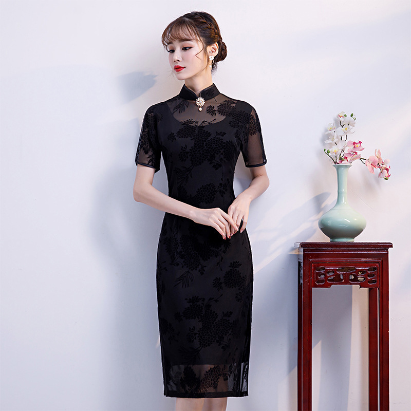 Quinceanera Limited Polyester High 2020 New Women's Retro Lace Dress Spring And Autumn Chinese Style Improved Cheongsam Summer