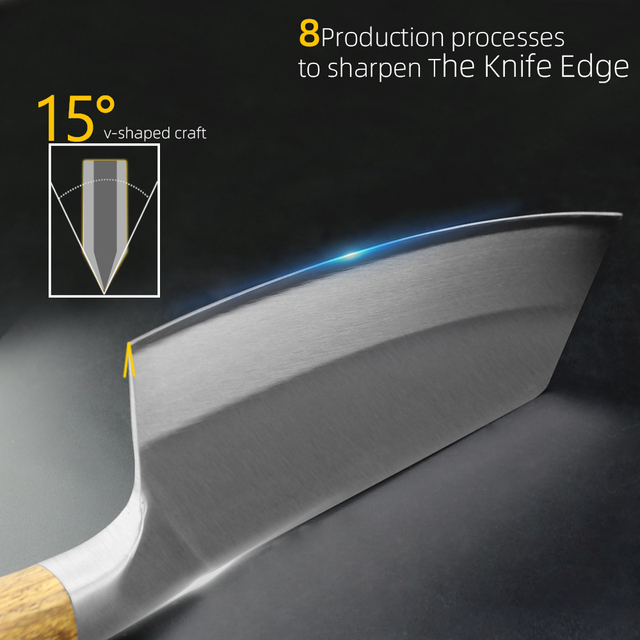 Chef Cleaver Knife Stainless Steel Wood Handle 2