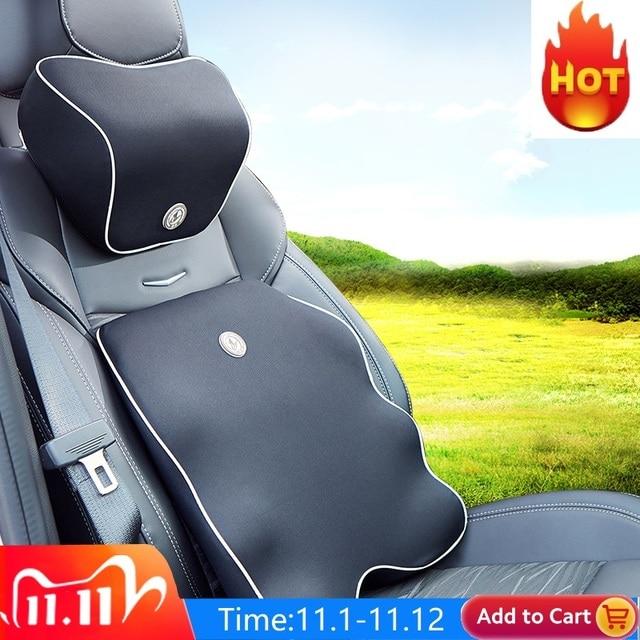 Neck Pillow Car Seat Headrest Pillow Seat Support Lumbar Cushion Orthopedic Design Travel Pillow Memory Foam Relieve Pain