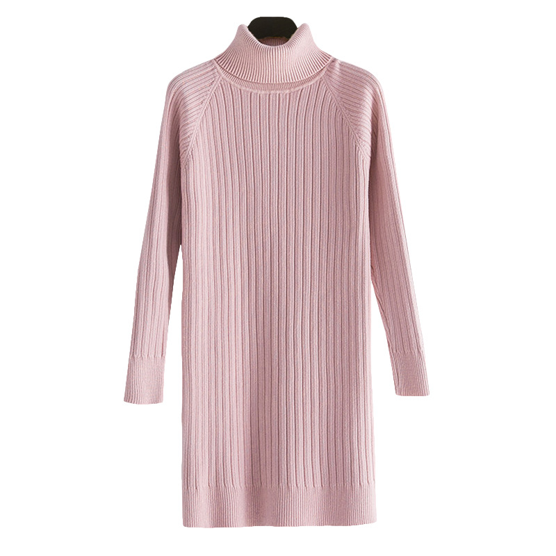 Brand 2019 Winter Sweet Elegant WOMEN'S Dress Korean-style Long Sleeve High Collar Step Dress