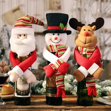 Christmas Holiday Table Decorative Wine Bottle Cover Lovely Hug Ornament Elk/Snowman/Santa Claus цена в Москве и Питере