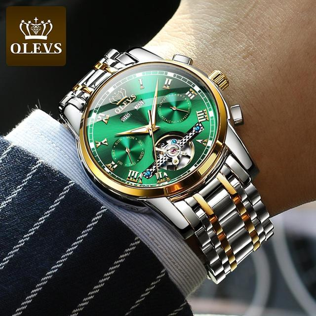 Mechanical Men Watches Automatic Stainless Steel Waterproof Date Week Green Fashion Classic Wrist Watches 6607 3
