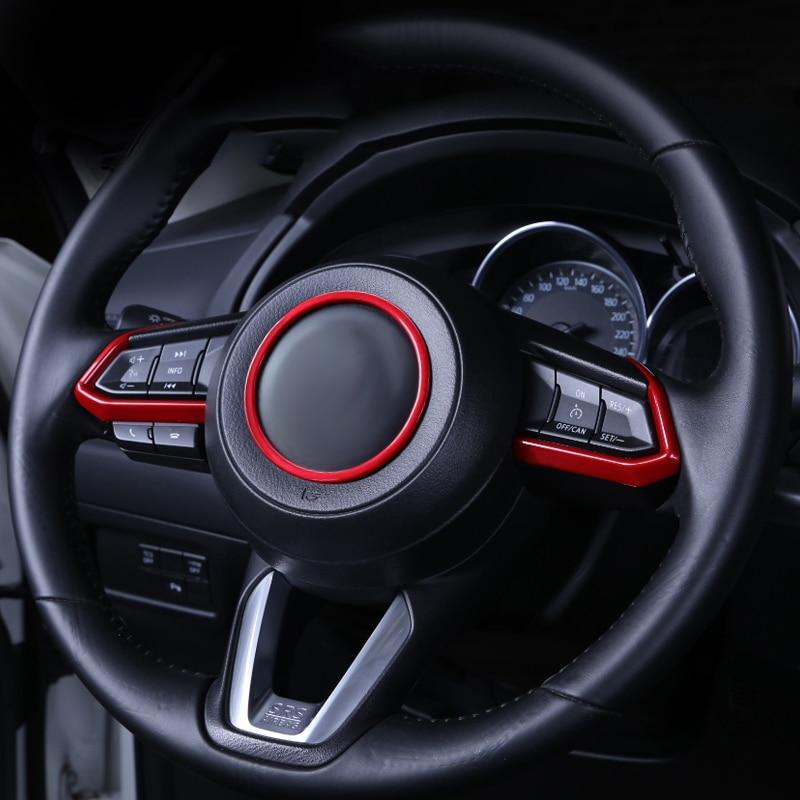 Car Steering Wheel Trim Circle Sequins Cover Sticker For Mazda 2 3 6 Demio CX3 CX-3 CX-5 CX5 CX7 CX9 Axela ATENZA 2017 2018 2019
