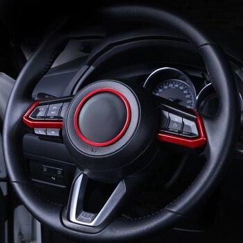 Car Steering Wheel Trim Circle Sequins Cover Sticker For Mazda 2 3 6 Demio CX3 CX-3 CX-5 CX5 CX7 CX9 Axela ATENZA 2017 2018 2019 multi function steering wheel switch audio bluetooth cruise control switch button for mazda 3 atenza axela cx5 cx 4 cx 5