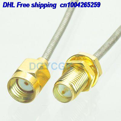 DHL 50pcs  RPSMA Male To RPSMA Female Bulkhead Semi-rigid Cable RG405 0.086