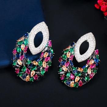 Unique Multi Color Cubic Zirconia Long Drop Earrings Jewelry Earrings 8d255f28538fbae46aeae7: Luxury multicolor