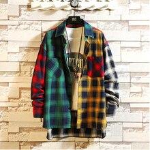 Plaid Shirt Clothing Button-Up Oversized Long-Sleeve Harajuku WGM Korean Men Man Patchwork