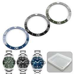 39mm Luminous Black Blue Ceramic Bezel Insert 41mm Dial for Longines HYDROCONQUEST L3 Watch Face Watches Replacement Accessories
