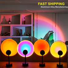 2021 Led Sunset Night lamp USB Button Rainbow Projector Atmosphere Lingting For Home Background Wall Decoration Colorful Lamp