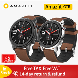 Amazfit GTR 47mm Smart Watch Men 5ATM Waterproof Huami GPS Smartwatch Up to 24 Days Battery AMOLED Screen 12 Sport Modesl