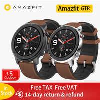 Amazfit GTR 47mm inteligentny zegarek mężczyźni 5ATM wodoodporny Huami GPS Smartwatch do 24 dni bateria ekran amoled 12 Sport Modesl