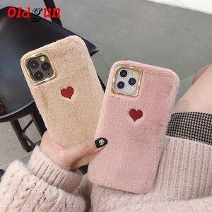 Image 1 - 2019 sıcak satış sınırlı sayıda düz renk çift aşk peluş yumuşak silikon cep telefonu kılıfı Iphone 11 durumda rahat