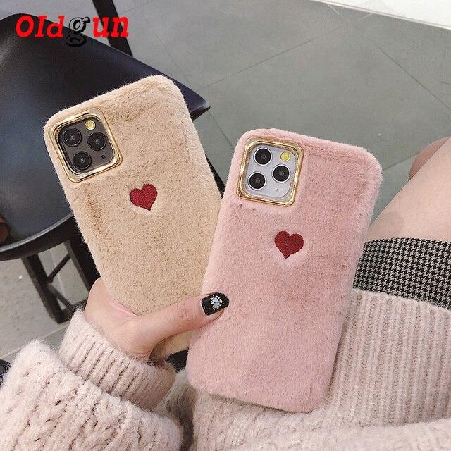 2019 sıcak satış sınırlı sayıda düz renk çift aşk peluş yumuşak silikon cep telefonu kılıfı Iphone 11 durumda rahat