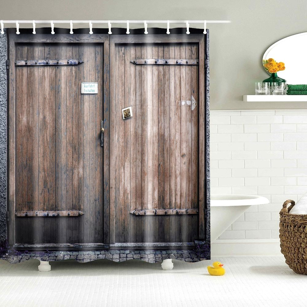 Image 2 - Dafield Fabric Rustic Vintage Old Wooden Door Decorations Bathroom Polyester Waterproof Washable Wood Door Shower Curtain-in Shower Curtains from Home & Garden