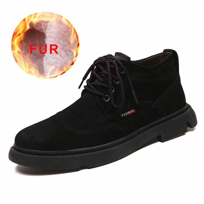 2019 Erkekler Kış sıcak Kar Botları Lace Up Su Geçirmez Ayakkabı Erkekler Rahat Nefes İş güvenliği botları rahat kauçuk Ayak Bileği Ayakkabı