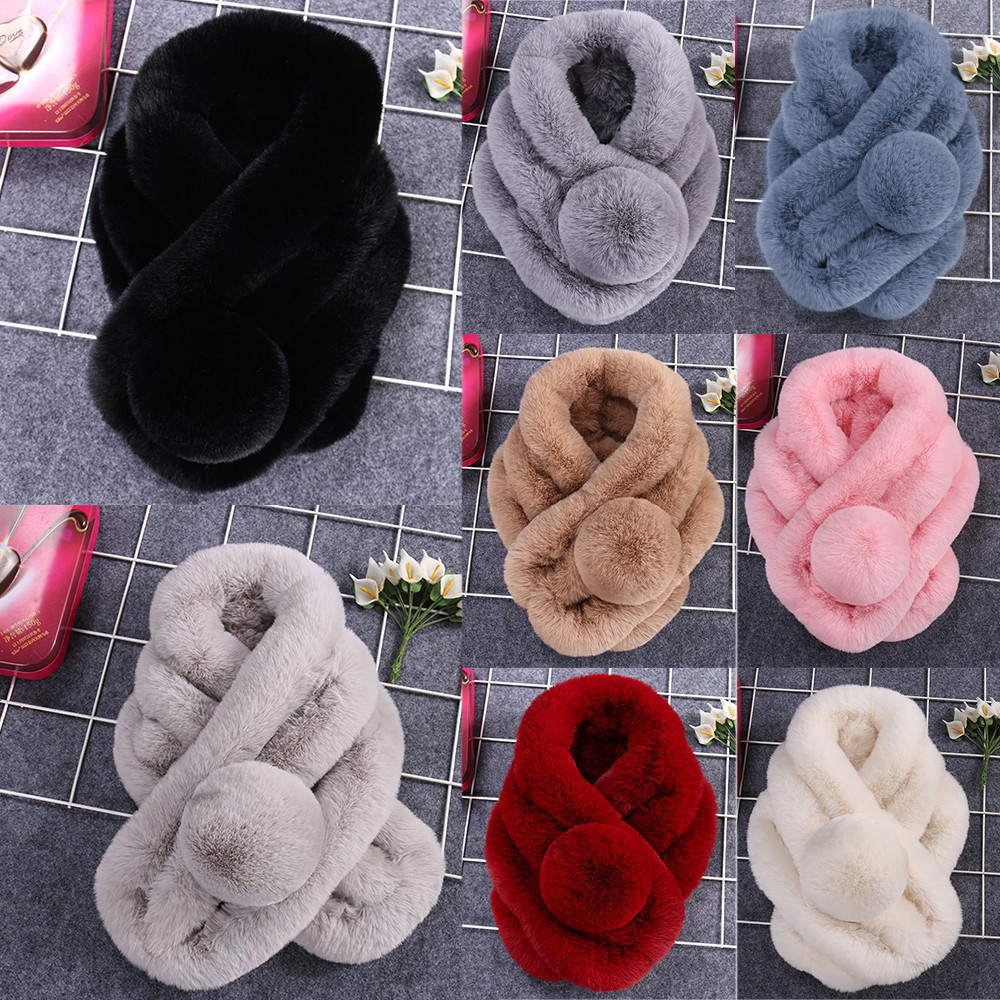 Women Winter Warm Scarf Thicken Fur Imitation Fur Grass Wool Stole Head Neck Short Winter Scarf For Ladies Bata Mujer Invierno