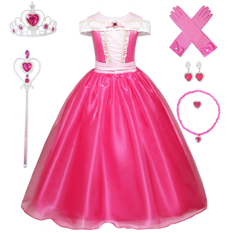 Image 2 - 3 10Y Girl Aurora Princess Costume Kids Sleeping Beauty Cosplay Dress Halloween Christmas Dress Children Birthday Party DressDresses   -