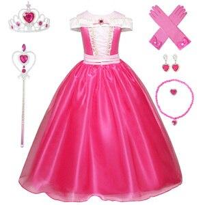 Image 1 - 3 10Ys dziewczyna Aurora kostium księżniczki dzieci śpiąca królewna sukienka Cosplay Halloween sukienka świąteczna dla dzieci sukienka na przyjęcie urodzinowe