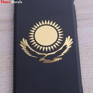 Image 2 - Tre Ratels MT 030 #49*55mm 1 2 pezzi la bandiera del Kazakistan in metallo dorato nichel auto sticker adesivi auto