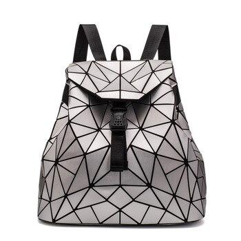 Φανταστικό Γυναικείο Δερμάτινο Σακίδιο με Γεωμετρικά Μοτίβο Μοντέρνο Δερμάτινο Γυναικείο Ολογραφικό Γεωμετρικό backpack Γυναικεία Δερμάτινη Τσάντα με Αλυσίδα και Γεωμετρικό 3d Σχεδιασμό