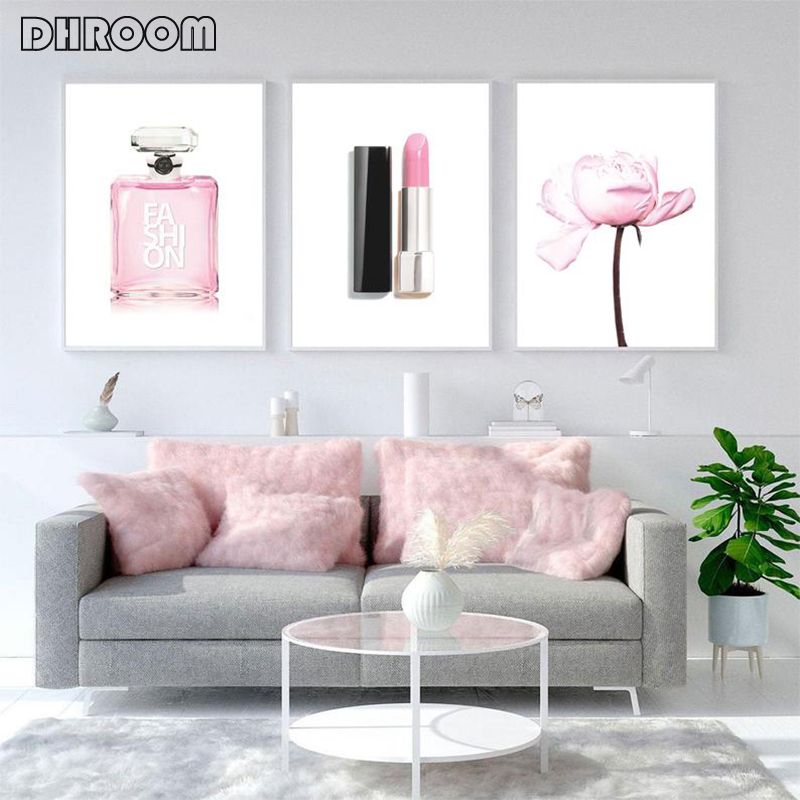 Fashion Print Pink Flower Bedroom Decor Makeup Art Lipstick Perfume Wall Art Canvas Painting Poster Girls Room Modern Decor