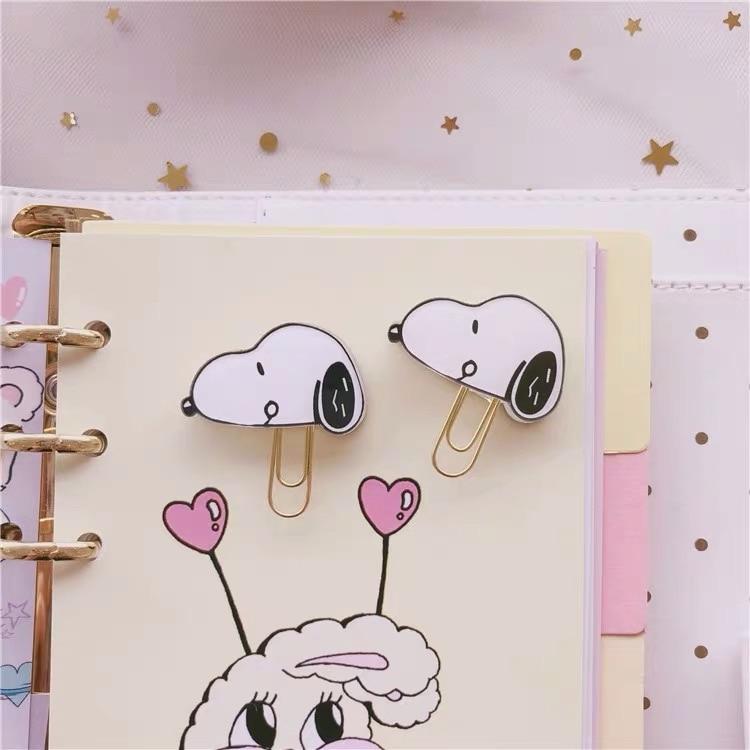 2Pcs Peanuts Rogue Dog Paper Clip Kawaii Cartoon Character Bookmark Binder Clip Promotional Gift Stationery School Office Supply