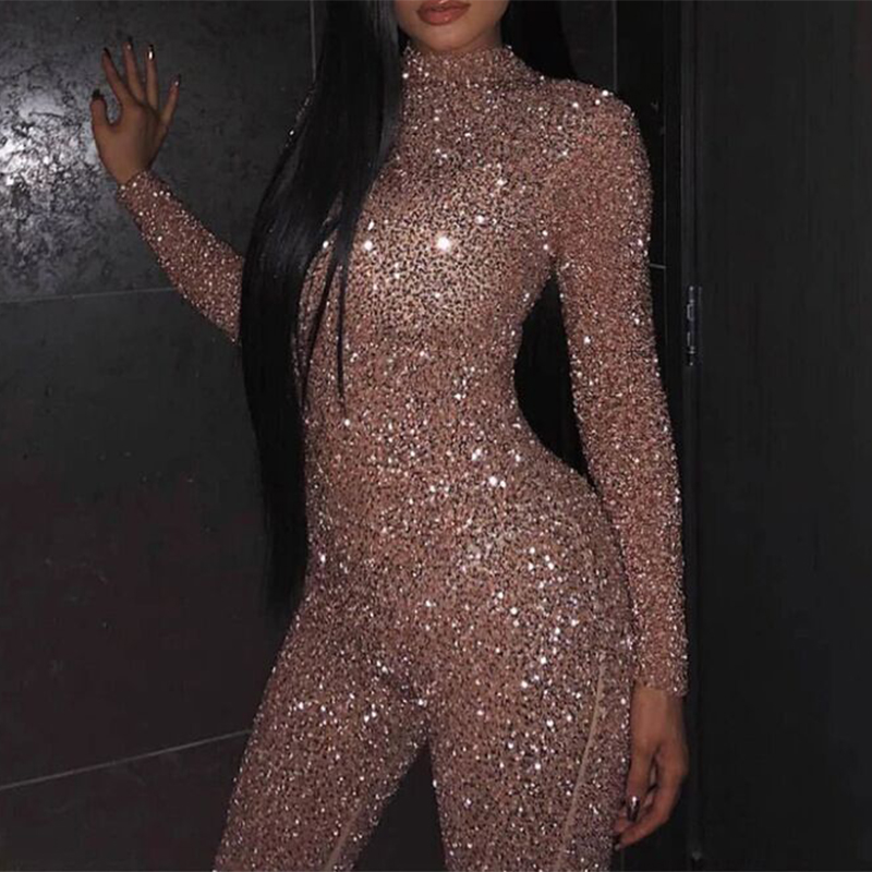 Skinny Jumpsuit Rompers Glitter Sequins Long-Sleeve Party Sexy Solid-Color Women's Ladies title=
