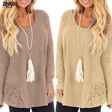 Women Fashion Round Neck Long Sleeve Casual Lace Patchwork Knitted Sweater Winte