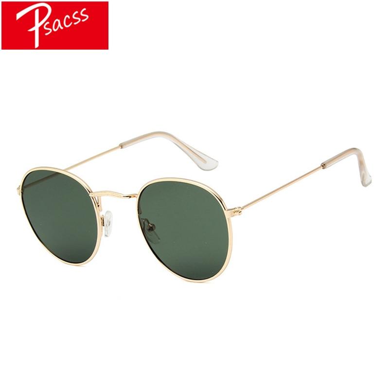 PSACSS nuevas gafas De Sol mujeres Vintage pequeño marco De Metal lentes De Sol para dama/hombres marca diseñador rayos espejados UV400 Oculos De Sol