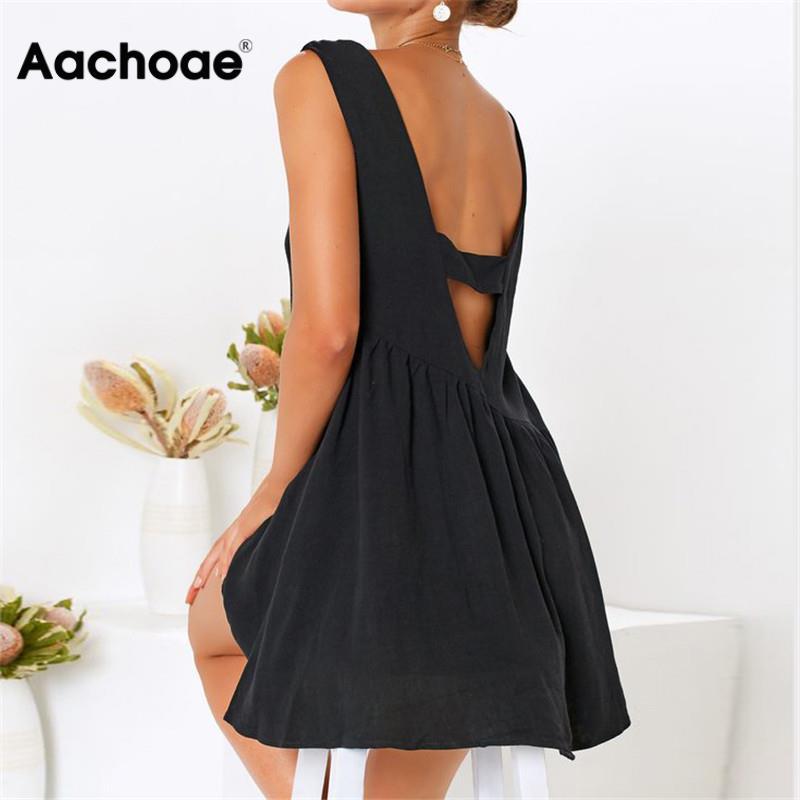 Summer Dress Women Sexy Backless Boho Style Beach Dress Casual O-neck Solid Color Elegant A-line Party Dress Sundress Vestidos